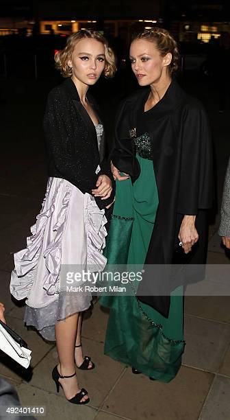 LilyRose Melody Depp and Vanessa Paradis attending the Chanel Exhibition Party at the Saatchi Gallery on October 12 2015 in London England
