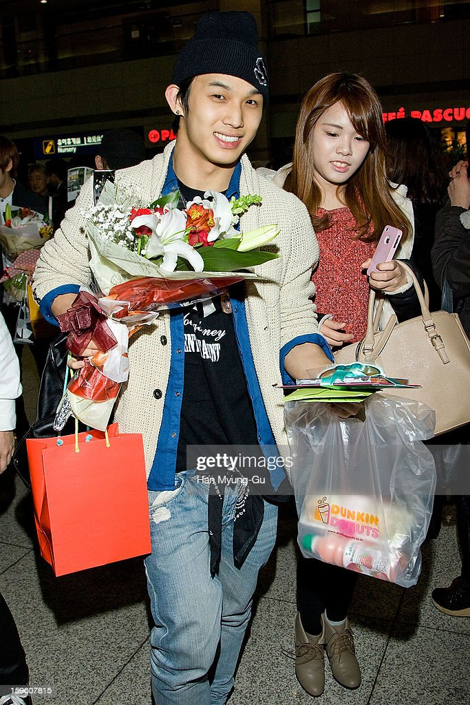 Lim Hyun-Sik of South Korean boy band BtoB is seen at Incheon Inaternational Airport on January 16, 2013 in Incheon, South Korea.