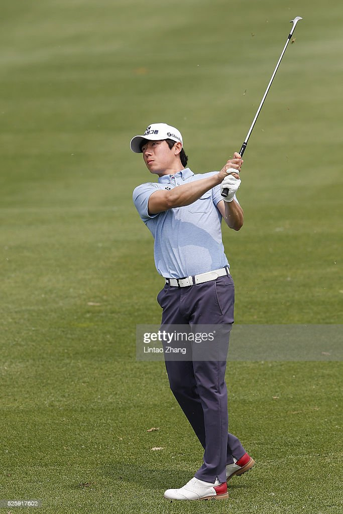 Lim Taehoon of Korea plays a shot during the second round of the Volvo China open at Topwin Golf and Country Club on April 28, 2016 in Beijing, China.