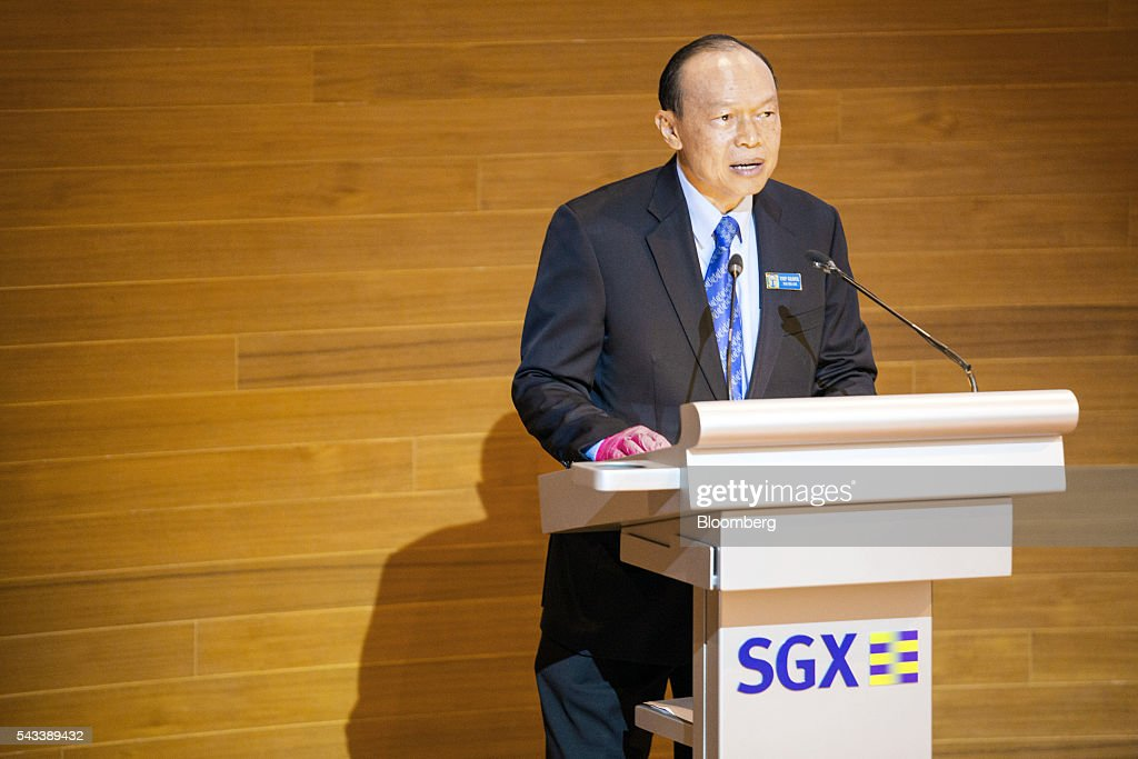 Lim Wee Chai, co-founder and chairman of Top Glove Corp., speaks during the listing of the company at the Singapore Stock Exchange in Singapore, on Tuesday, June 28, 2016. Top Glove made its trading debut at the Singapore Exchange Securities Trading Ltd. (SGX-ST) today. Photographer: Nicky Loh/Bloomberg via Getty Images