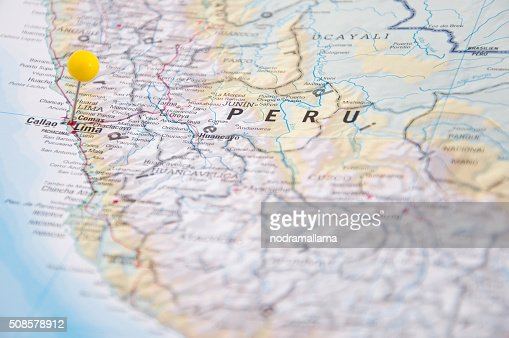 Lima, Brazil, Yellow Pin, Close-Up of Map. : Bildbanksbilder