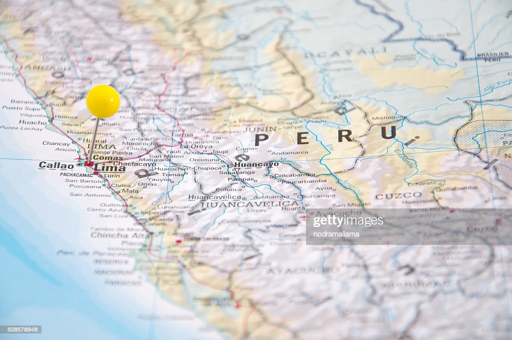 Lima, Brazil, Yellow Pin, Close-Up of Map. : Stock Photo