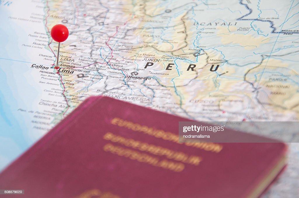 Lima, Peru, Red Pin and Passport, Close-Up of Map. : Stockfoto