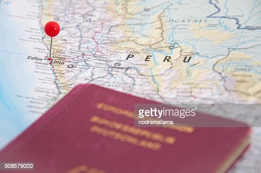 Lima, Peru, Red Pin and Passport, Close-Up of Map. : Bildbanksbilder