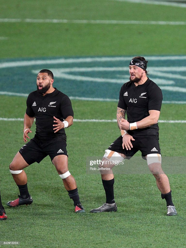 Lima Sopoaga and Elliot Dixon of New Zealand complete the Haka during the International Test match between the New Zealand All Blacks and Wales at Forsyth Barr Stadium on June 25, 2016 in Dunedin, New Zealand.