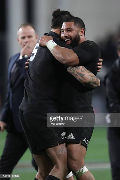 Lima Sopoaga and Elliot Dixon of the All Blacks embrace following the International Test match between the New Zealand All Blacks and Wales at...