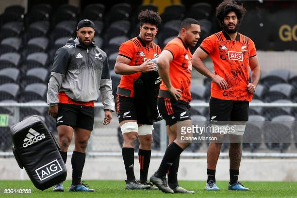 Lima Sopoaga Ardie Savea Ngani Laumape and Akira Ioane of the All Blacks look on during a New Zealand All Blacks Training Session on August 22 2017...