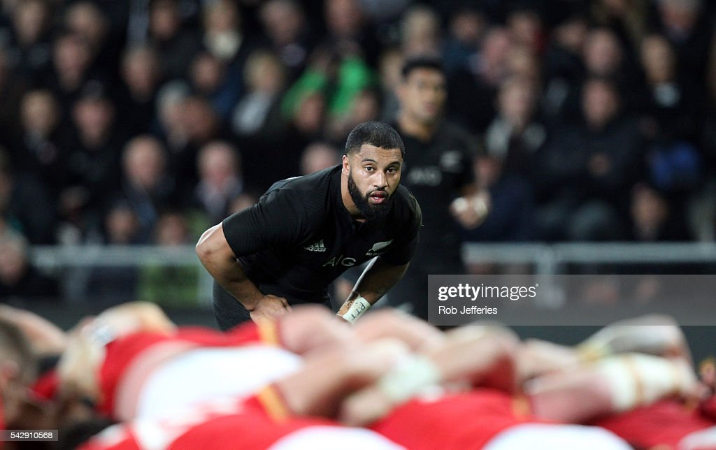 Lima Sopoaga of New Zealand during the International Test match between the New Zealand All Blacks and Wales at Forsyth Barr Stadium on June 25, 2016 in Dunedin, New Zealand.