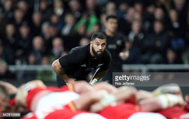 Lima Sopoaga of New Zealand during the International Test match between the New Zealand All Blacks and Wales at Forsyth Barr Stadium on June 25 2016...