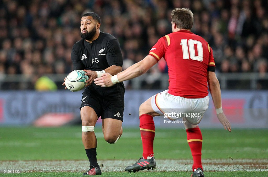 Lima Sopoaga of New Zealand on the attack during the International Test match between the New Zealand All Blacks and Wales at Forsyth Barr Stadium on June 25, 2016 in Dunedin, New Zealand.