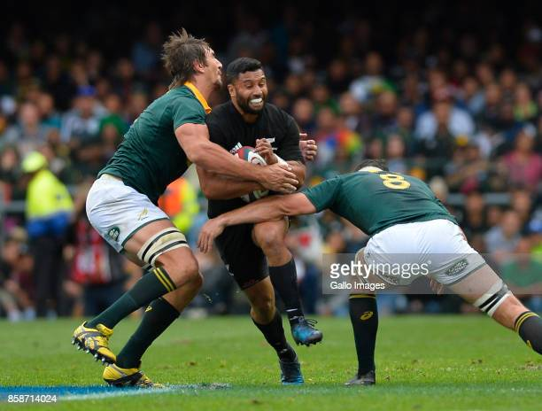 Lima Sopoaga of New Zealand tackled by Eben Etzebeth of South Africa and Francois Louw of South Africa during the Rugby Championship 2017 match...