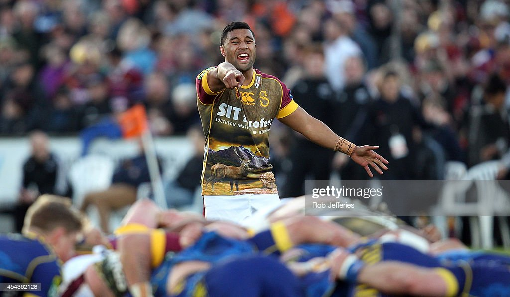 Lima Sopoaga of Southland appeals to the referee during the ITM Cup match between Southland and Otago on August 30, 2014 in Invercargill, New Zealand.