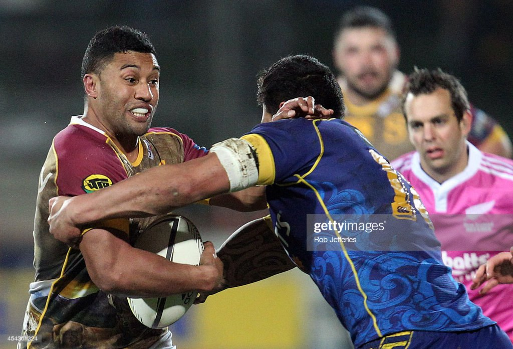 <a gi-track='captionPersonalityLinkClicked' href=/galleries/search?phrase=Lima+Sopoaga&family=editorial&specificpeople=7196726 ng-click='$event.stopPropagation()'>Lima Sopoaga</a> of Southland is tackled during the ITM Cup match between Southland and Otago on August 30, 2014 in Invercargill, New Zealand.