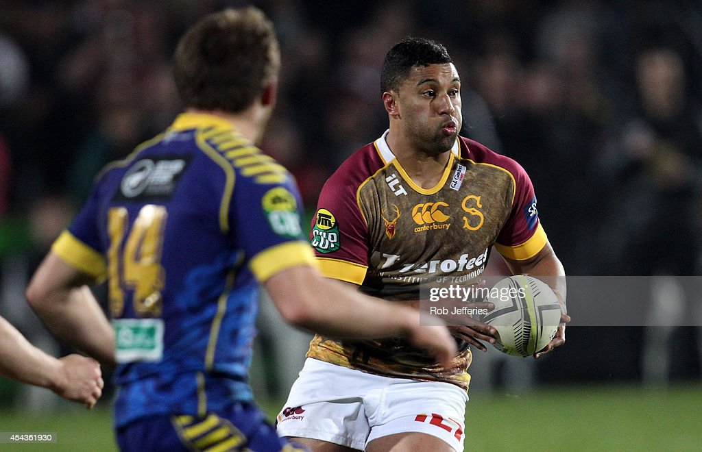 Lima Sopoaga of Southland on the attack during the ITM Cup match between Southland and Otago on August 30, 2014 in Invercargill, New Zealand.