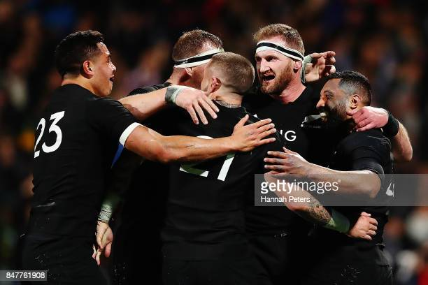Lima Sopoaga of the All Blacks celebrates after scoring a try during the Rugby Championship match between the New Zealand All Blacks and the South...