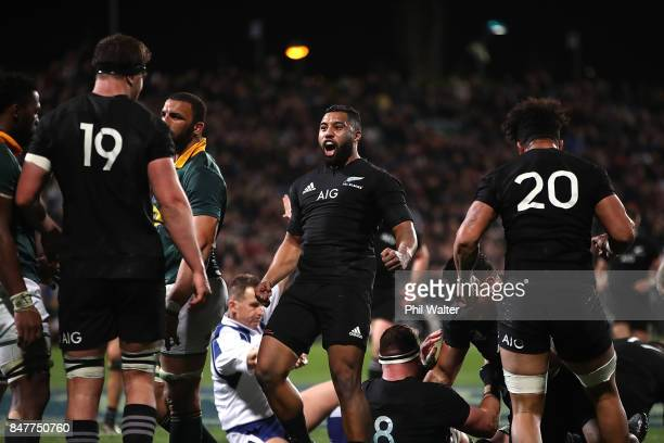 Lima Sopoaga of the All Blacks celebrates the try to Codie Taylor during the Rugby Championship match between the New Zealand All Blacks and the...