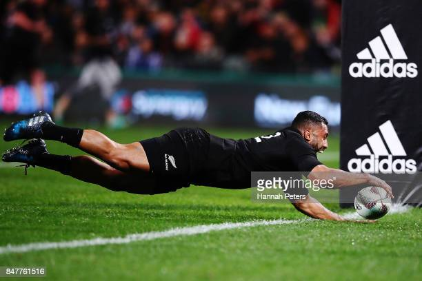 Lima Sopoaga of the All Blacks dives into score a try during the Rugby Championship match between the New Zealand All Blacks and the South African...