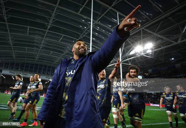 Lima Sopoaga of the Highlanders and teammates celebrate their 2322 victory during the 2017 British Irish Lions tour match between the Highlanders and...