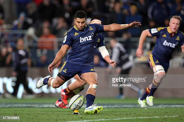 Lima Sopoaga of the Highlanders kicks a penalty to seal the Highlanders win during the Super Rugby Qualifying Final match between the Highlanders and...