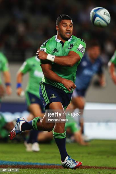 Lima Sopoaga of the Highlanders passes the ball out during the round seven Super Rugby match between the Blues and the Highlanders at Eden Park on...