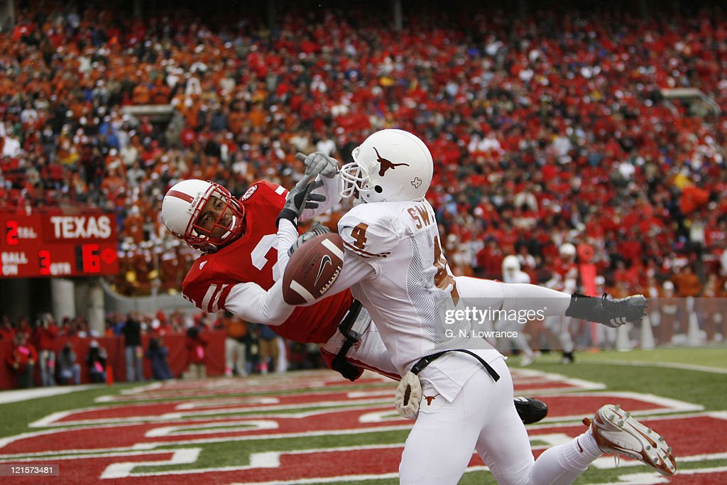 Limas Sweed of Texas battles with Cortney Grixby for the ball during action between the Texas Longhorns and Nebraska Cornhuskers on October 21, 2006 at Memorial Stadium in Lincoln, Nebraska. Texas won the game 22-20.