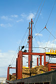 Limassol, Cyprus. Freighter loaded with pine planks
