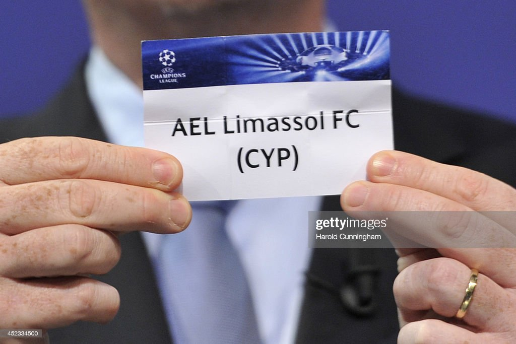 Limassol FC is drawn during the UEFA 2014/15 Champions League third qualifying rounds draw at the UEFA headquarters, The House of European Football, on July 18, 2014 in Nyon, Switzerland.