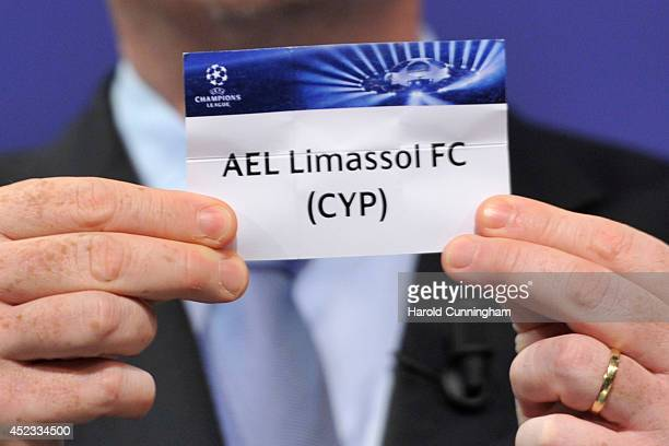 Limassol FC is drawn during the UEFA 2014/15 Champions League third qualifying rounds draw at the UEFA headquarters The House of European Football on...