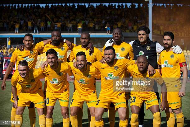 Limassol players pose before the Cypriot First Division match AEL Limassol FC and APOEL FC at the Tsirion Stadium on May 17 2014 in in Limassol Cyprus