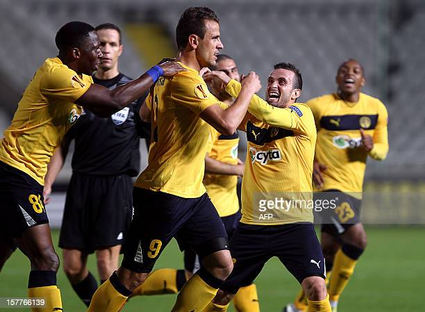 AEL Limassol's forward Orlando Sa celebrates with teammates after scoring a goal against Marseille during their UEFA Europa League group C football...