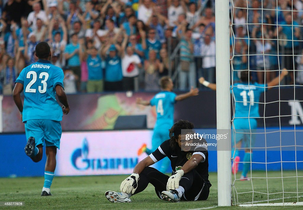 AEL Limassol's keeper Karim Fegrouche is sad after conceding a goal during the UEFA Champions League third qualifying round match between Zenit St. Petersburg and AEL Limassol at Petrovsky Stadium, Russia, August 6, 2014.