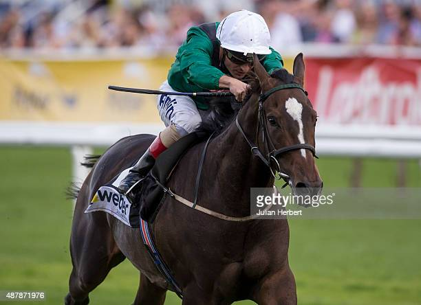 Limato ridden by Andrea Atzeni wins The Saint Gobain Weber ParkStakes Race run at Doncaster Racecourse on September 12 2015 in Doncaster England