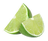 lime fruit slices isolated on a white background with clipping path