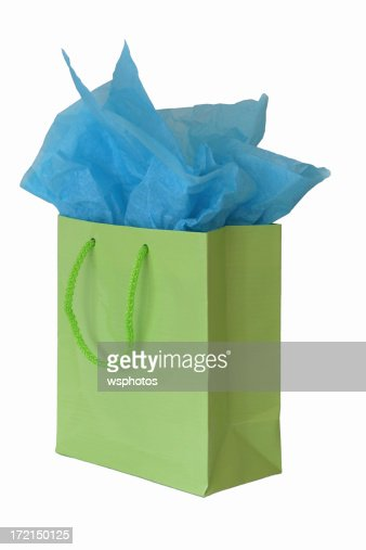 Lime green gift bag isolated