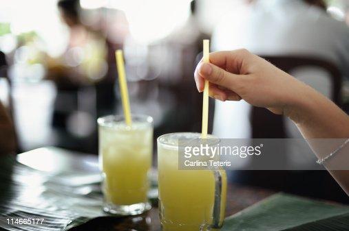Lime juice at Banana Leaf Restaurant : Stock Photo