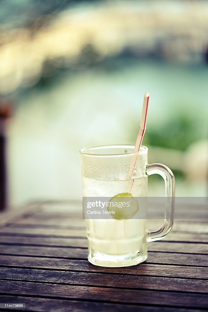 Lime juice by the sea : Stock Photo