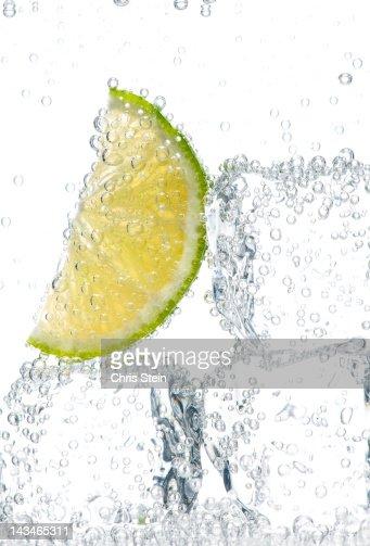 Lime slice on ice
