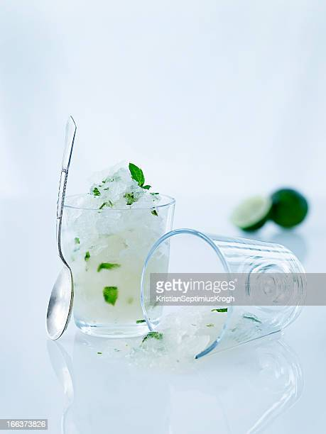 Lime sorbet in glass