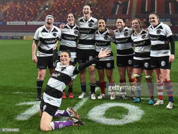 Limerick Ireland 10 November 2017 Christelle LeDuff of France and the Barbarians celebrates infront of players from left Ailis Egan Nora Stapleton...