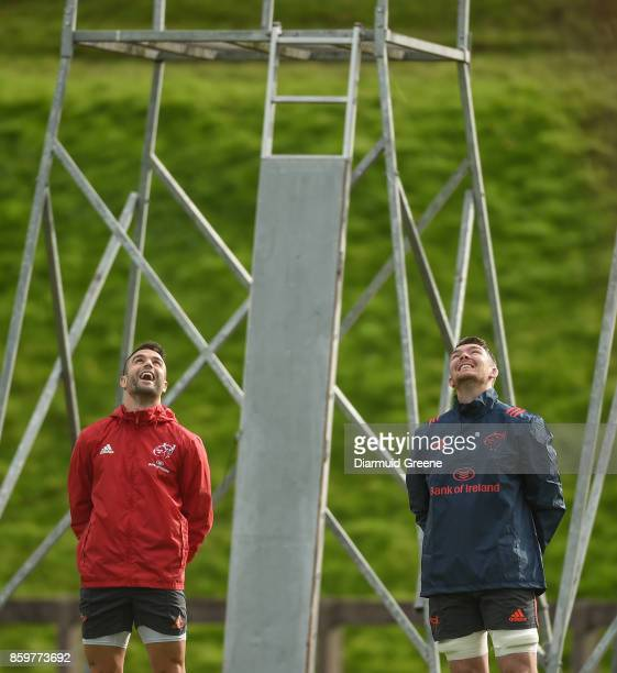 Limerick Ireland 10 October 2017 Conor Murray left and Peter O'Mahony of Munster during Munster Rugby Squad Training at the University of Limerick in...