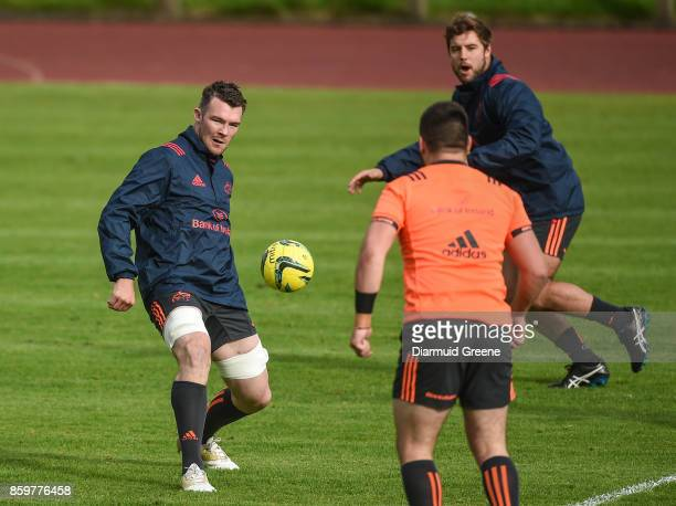 Limerick Ireland 10 October 2017 Peter O'Mahony of Munster alongside teammate Rhys Marshall during Munster Rugby Squad Training at the University of...