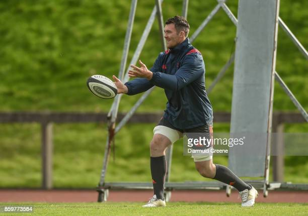 Limerick Ireland 10 October 2017 Peter O'Mahony of Munster during Munster Rugby Squad Training at the University of Limerick in Limerick
