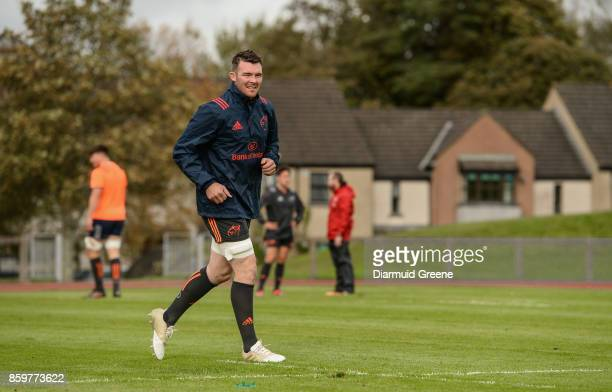 Limerick Ireland 10 October 2017 Peter O'Mahony of Munster makes his way out for Munster Rugby Squad Training at University of Limerick in Limerick