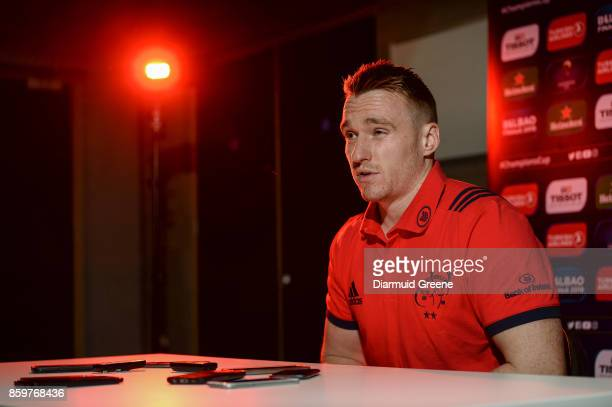 Limerick Ireland 10 October 2017 Rory Scannell of Munster during a Munster Rugby Press Conference at University of Limerick in Limerick