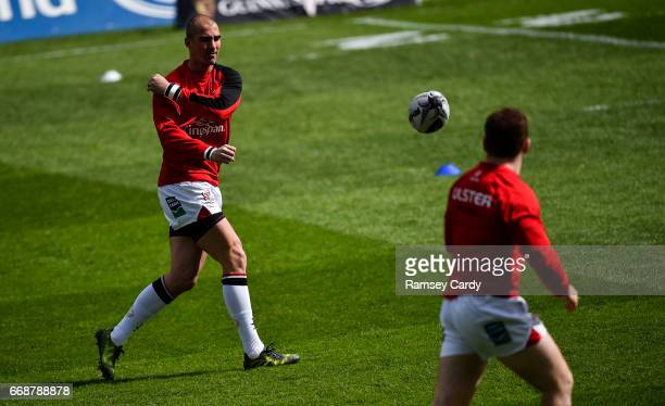 Limerick Ireland 15 April 2017 Ruan Pienaar left and Paddy Jackson of Ulster warm up ahead of the Guinness PRO12 match between Munster and Ulster at...