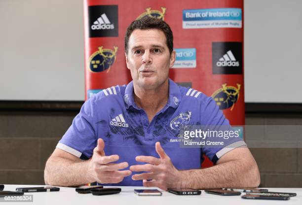 Limerick Ireland 15 May 2017 Munster director of rugby Rassie Erasmus during a press conference at the University of Limerick in Limerick