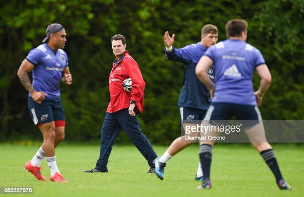 Limerick Ireland 15 May 2017 Munster director of rugby Rassie Erasmus during squad training at the University of Limerick in Limerick