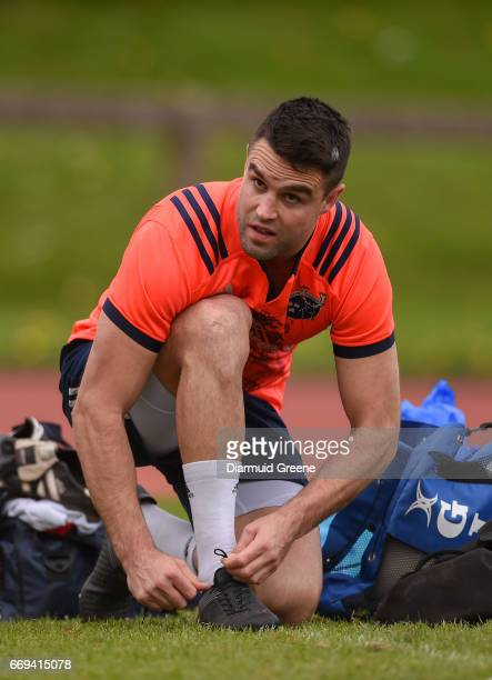 Limerick Ireland 17 April 2017 Conor Murray of Munster ties his boot laces before squad training at the University of Limerick in Limerick