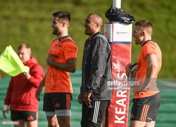 Limerick Ireland 17 October 2017 Conor Murray Simon Zebo and Andrew Conway of Munster during Munster Rugby Squad Training at the University of...