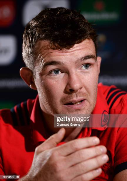 Limerick Ireland 17 October 2017 Peter O'Mahony of Munster during a Munster Rugby Press Conference at University of Limerick in Limerick
